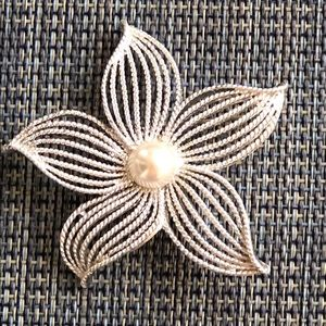 """Moon Flower"" Silver tone Vintage Brooch"